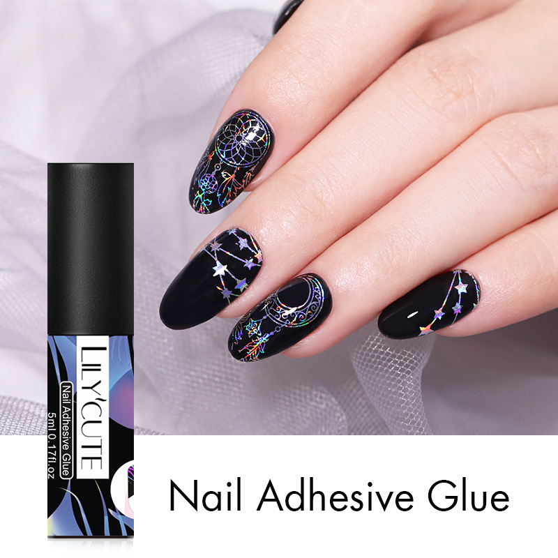 LILYCUTE 5ml Nail Adhesive Glue Fast-dry For Nail Foil Transfer Sticker Decals Paper DIY Nail Art Decorations Glue Tools