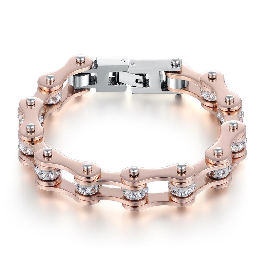 2019 SDA IP de alta calidad de cristal de oro rosa cadena de la motocicleta de la joyería para las mujeres 316L de acero inoxidable de pulseras de cadena de YM103