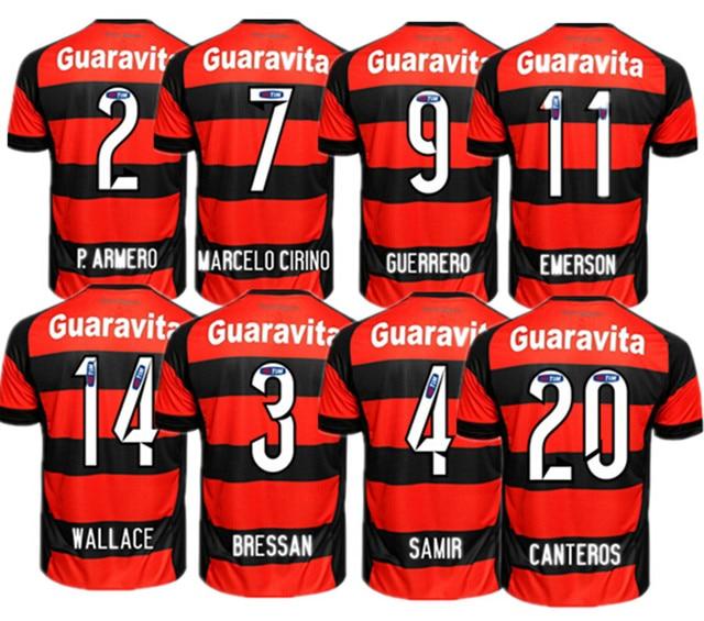 NEW Flamengo Home Soccer Football Maglia Sleeve Jersey Guerrero 9 Flamengo  Home 2015 16 Oficial Jersey Maglia Camiseta Oficial 217df9958