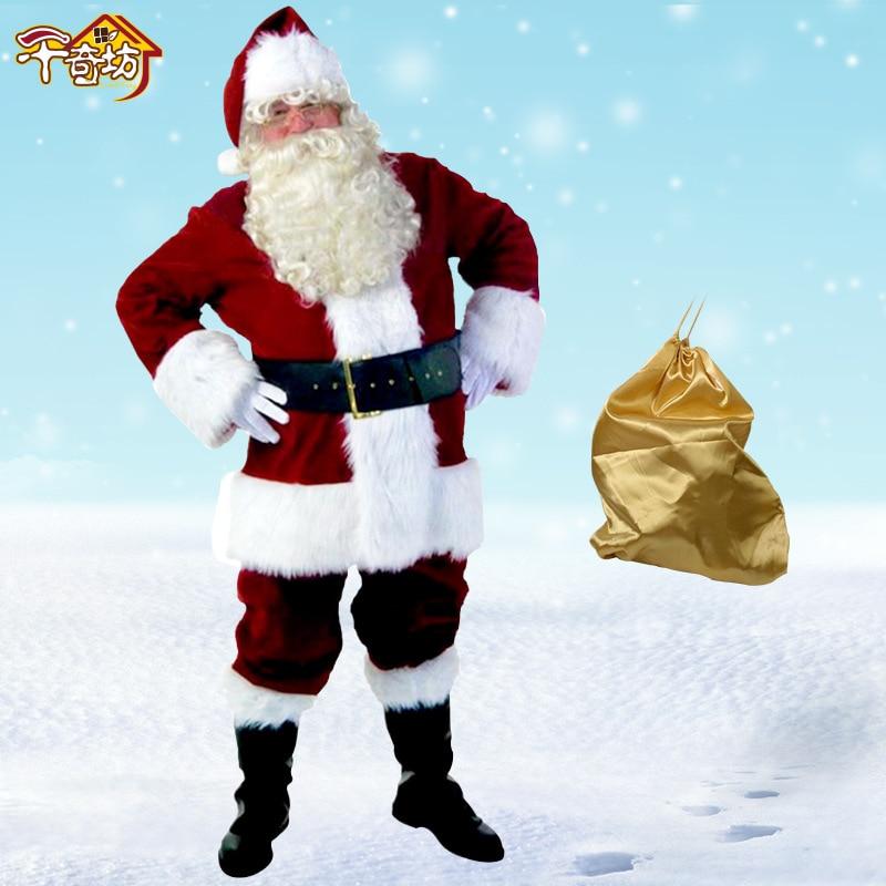 Christmas Santa Claus Costume, Hardcover Large Size L XL XXL Clothes Suit 10 Pieces Christmas Decorations giant christmas inflatable santa inflatable christmas father large santa claus free shipping