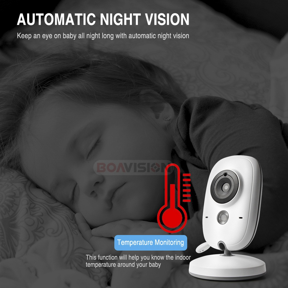 Image 5 - 3.2 Inch Color LCD Wireless Video Baby Monitor Night Vision 5m Nanny Monitor Bebek Lullabies Surveillance Security Camera VB603-in Baby Monitors from Security & Protection