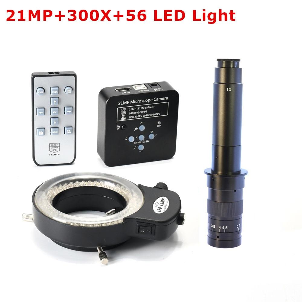 1080P 60FPS 2K 21MP 100X 180X 200X 300X C Mount Lens HDMI USB Industrial Electronic Digital
