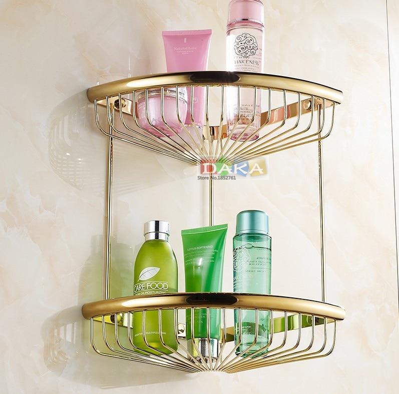 Di lusso oro finitura accessori bagno doccia shampoo e cosmetici scaffale basket holder/ottone materiale doppio disegno angolo ripiani - 2