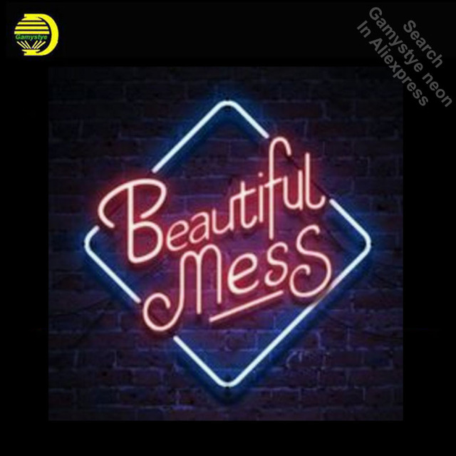 Neon Sign for Beautiful Mess Neon Bulb sign handcraft Decorate Home neon Clear board wall lights anuncio luminos dropshipping
