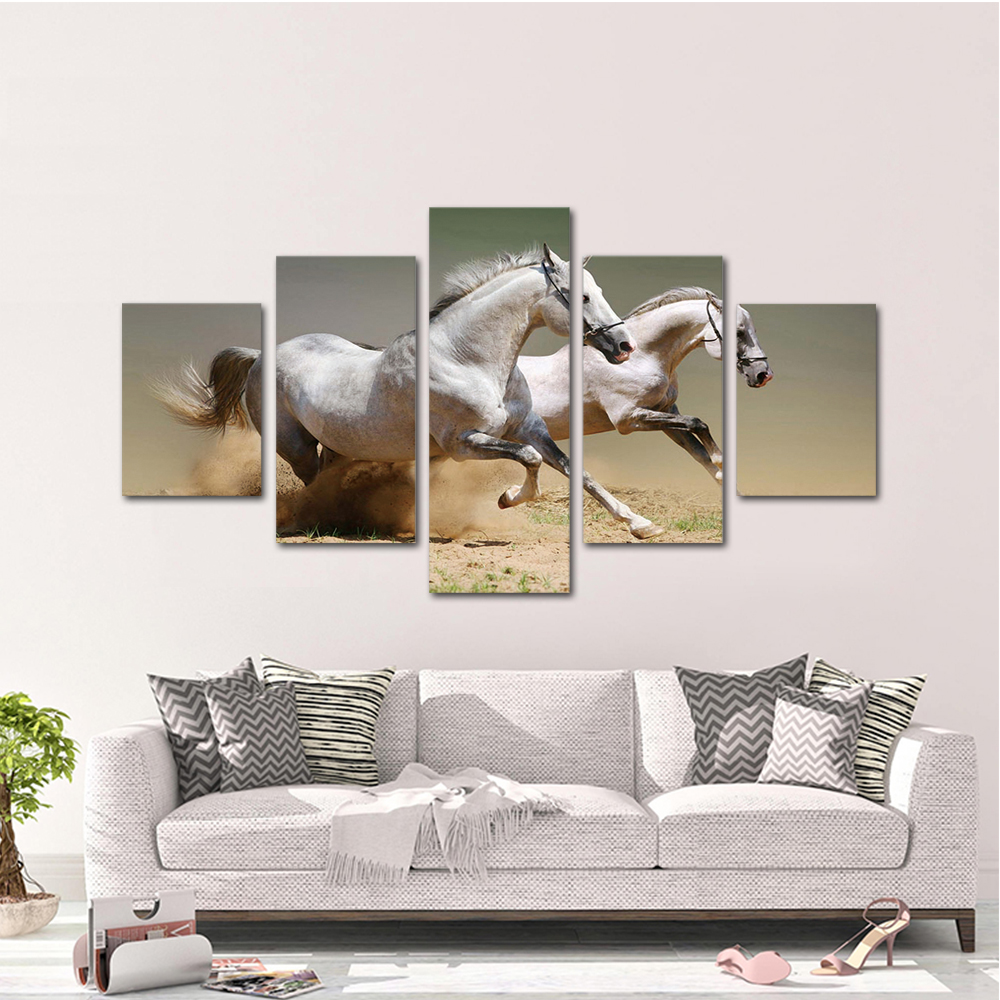 Unframed HD Print 5 Canvas Art Paintings Pentium Of Horses Canvas Mural Living Room Decoration Picture Free Shipping
