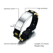 Stainless Steel ID Bracelet Unisex Identification Wristband Silicone Adjustable Length Watch Band Buckle