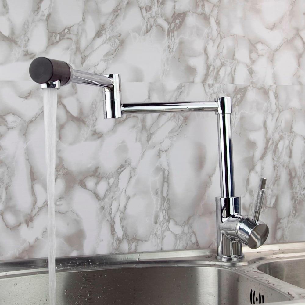 360 Swivel Kitchen Faucet Single Handle Chrome Finish Kitchen Faucet Mixer Water Taps Brass Folding Faucet