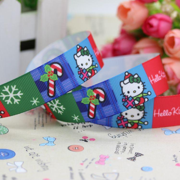 ᗕ7/8\'\' Free shipping kitty christmas printed grosgrain ribbon ...