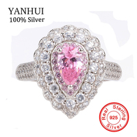 YANHUI Luxury 100 Nature Water Drop Pink Gem Stone Ring Original 925 Solid Silver CZ Engagement