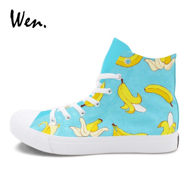 25891958b Wen Banana Hand Painted Shoes Men Women Original Canvas Sneakers Fruit  Design Graffiti Flat High Top Sport Skateboarding Shoes