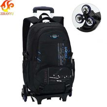 Latest Removable Children School Bags With 2/6 Wheels Stairs Kids boys girls backpacks Trolley Schoolbag Luggage Book Bags(China)