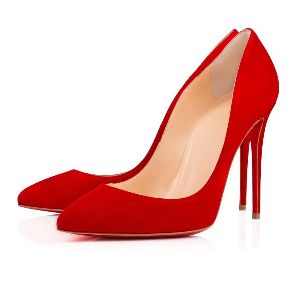 Red Suede Heels - Qu Heel