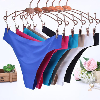 Women Sexy Ice Silk  Invisible Underwear Seamless  G-Strings female  Crotch Briefs