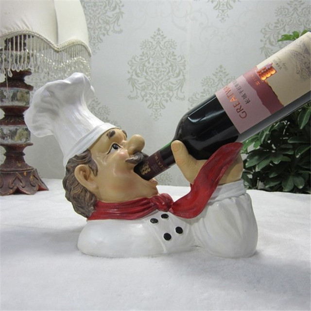 surprising Chef Wine Holder Statue Part - 7: creative resin wine stand chef rooster figurine cock statue wine holder