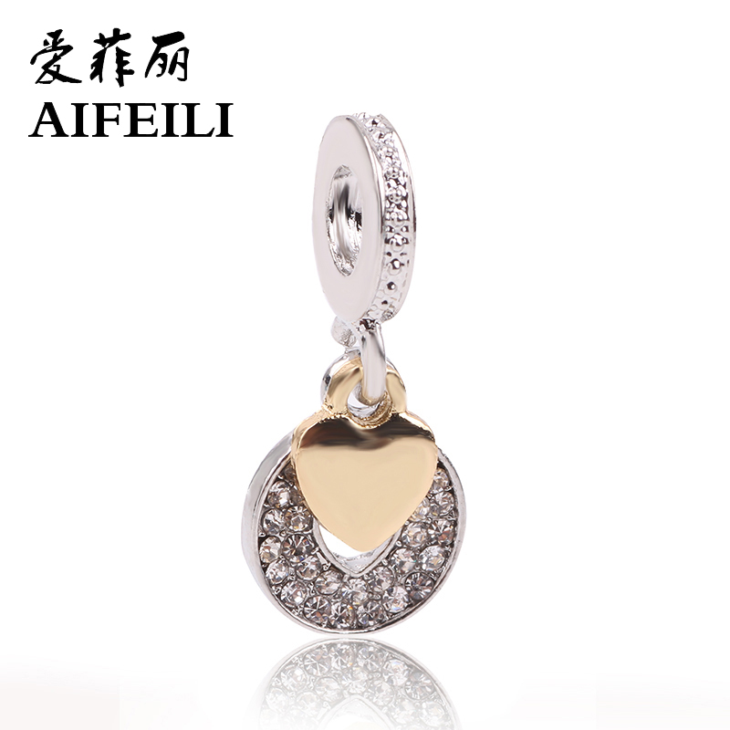 AIFEILI New Arrival Silver Color LOVE Dangle Beads Fit Original Pandora Charm Bracelet Fine DIY Jewelry Women Gift ...