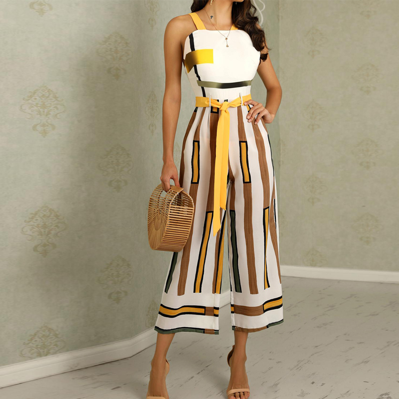 Women Summer Sleeveless Overalls Contrast Striped Backless Ladies Sashes Wide Leg Jumpsuit Wide Leg Overalls