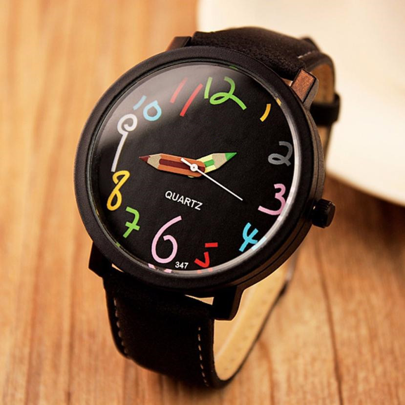 Free Shipping Watches Women Casual Colorful Numerals Pencil Leather Strap Quartz Wrist Watch 80606 lovesky 2016 new arrival women pu leather watch who cares i am late anyway letter watches wrist watch free shipping
