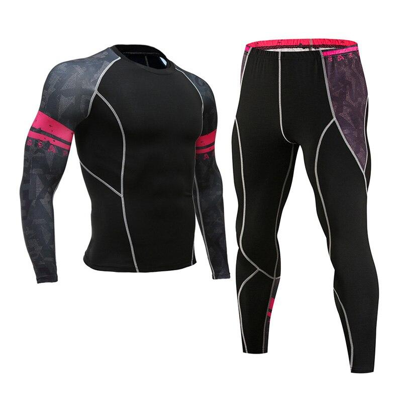 Men's Sportswear Thermal Underwear Set  Jogging Training Kit Skins Compression Clothing Autumn  Winter Men's Sport Suit Brand
