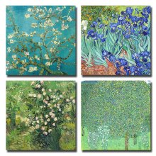 4Pcs/Setsr Almond Blossom and Irises by Vincent Van Gogh Oil Paintings