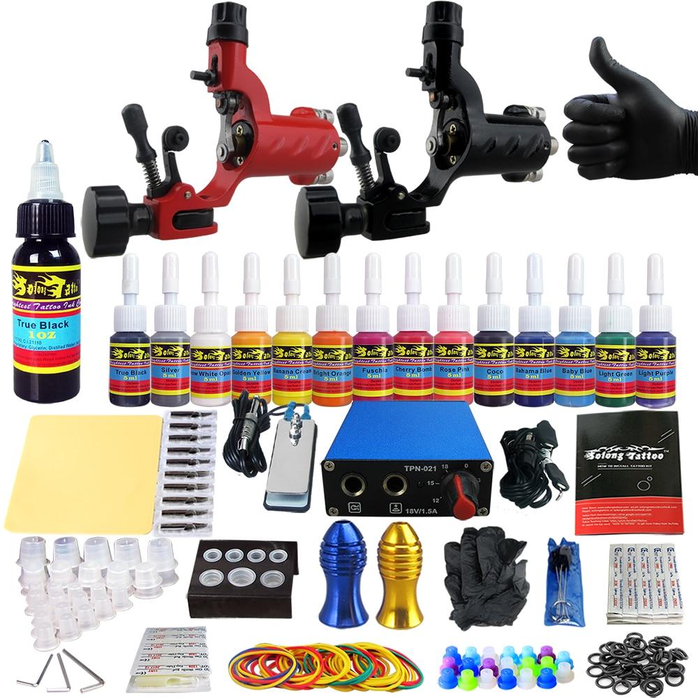 Solong Tattoo Starter Complete Tattoo Kit 2 Rotary Tattoo Machine Guns Power Supply 14 Colors Inks Grips Tips Needles  TK203-16