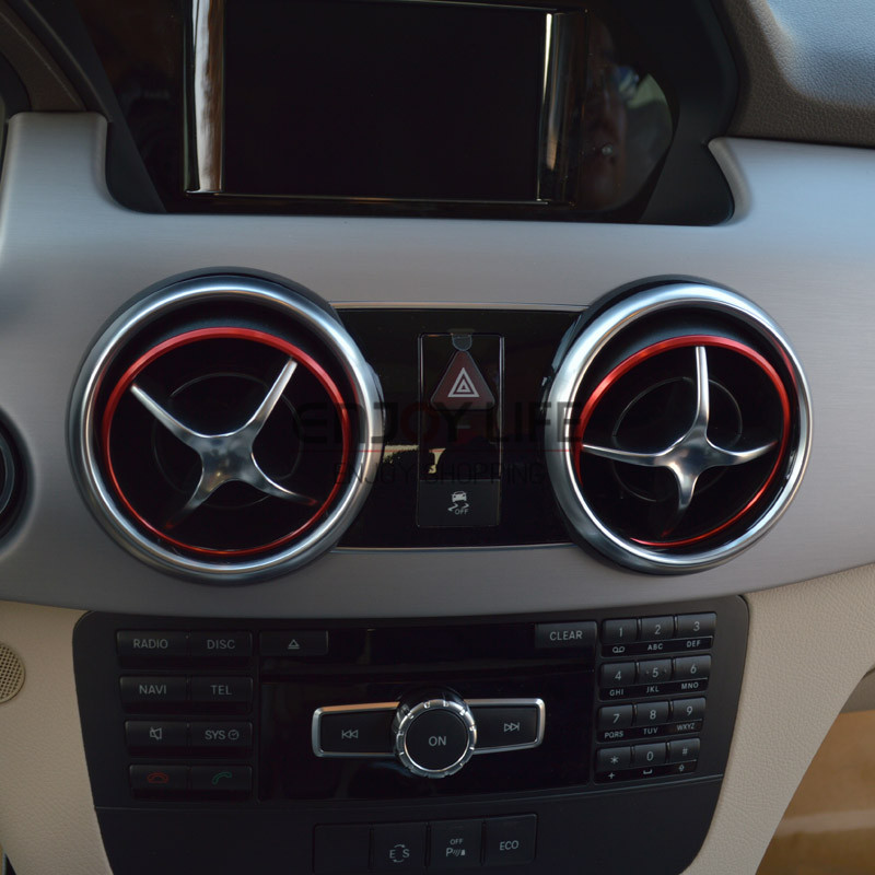 4pcs interior ac air vent outlet ring cover trim sticker for mercedes benz glk class x204 glk200 glk250 glk350 2009 2016 in interior mouldings from
