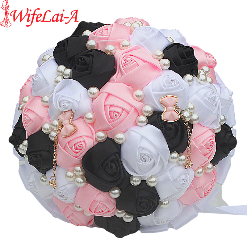 Dark Pink Wedding Flowers: WifeLai A Custom White Black Pink Rose Flowers Brooch