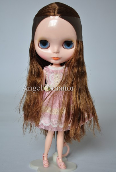 Free shipping Nude Blyth Doll, Brown+gold  hair, big eye doll,Fashion doll Suitable For DIY Change BJD , For Girl's Gift  free shipping nude blyth doll brown wavy wig doll toys for girls