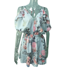 Women Rompers print lace short pleated chest wrapped strapless