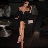 Sexy Abiti Nero Al Largo Della Spalla Mini Abiti V Neck Partito abito Senza Spalline Low Cut Backless Night Club Dress Gown Bianco Nuovo
