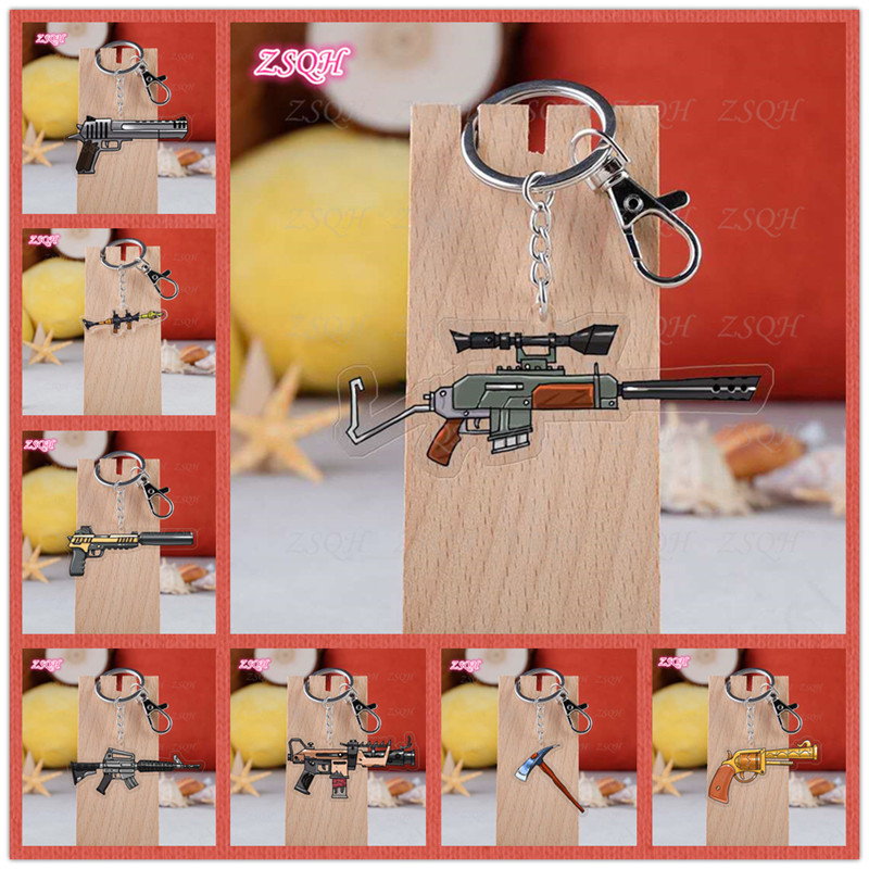 ZSQH Fortnited Battle Royale children Action Figure FORTNIGHT Gun Model FORTNIGHT Acrylic Keychain Kids Christmas Gifts Toy
