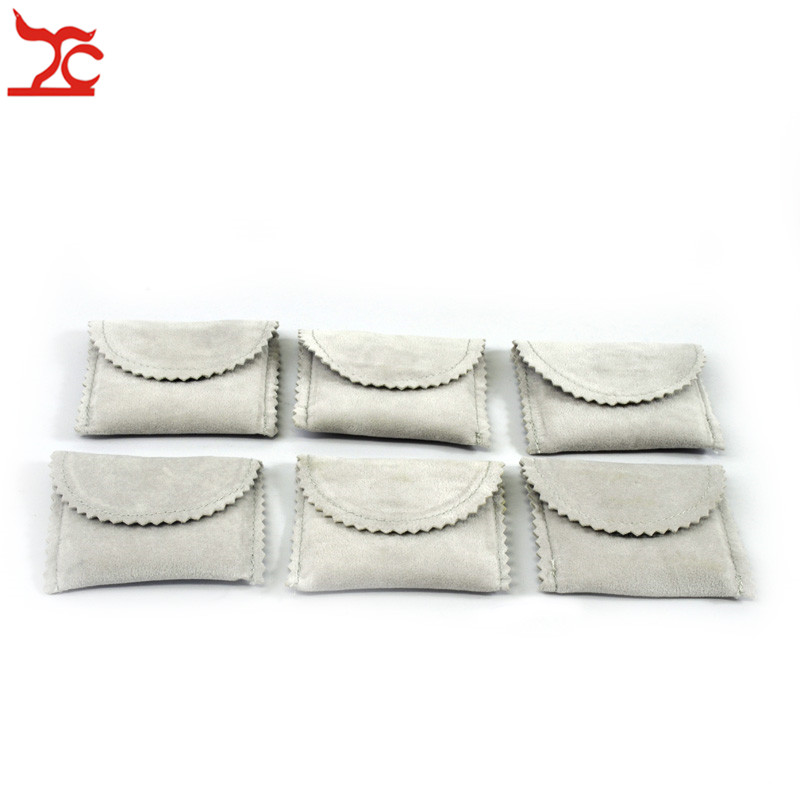 Wholesale 6 Pcs Grey Velvet Mini Pouches Ring Earring Cufflinks Pendant Storage Organizer Gift Bag Jewelry Protection Pounches