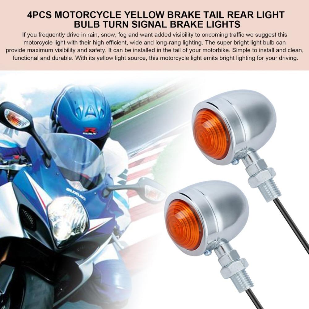 New 4PCS Motorbike Turn Signal Brake Lights DIY Motorcycle Brake Tail Rear Light Bulb For Chopper Custom 2 Size/Color Hot Sell