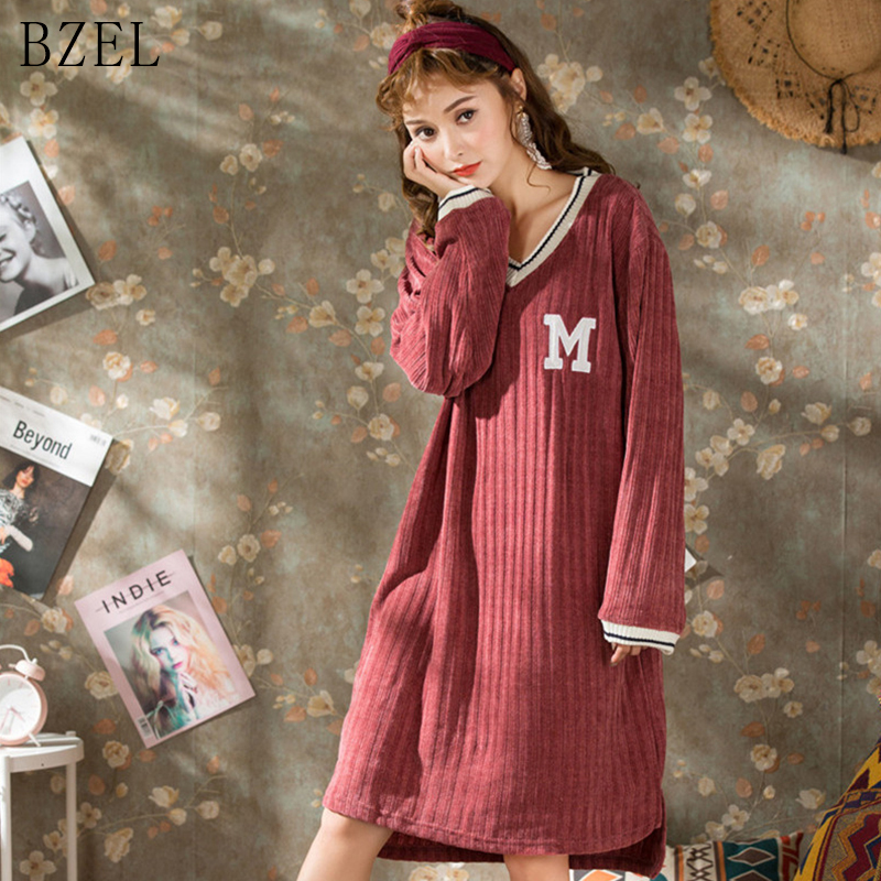 BZEL New   Nightgowns   Long Sleeve   Sleepshirts   Plus Size Lady Sleepwear Letter Dressing Gown Female Home Wear Pijama Mujer Pyjamas