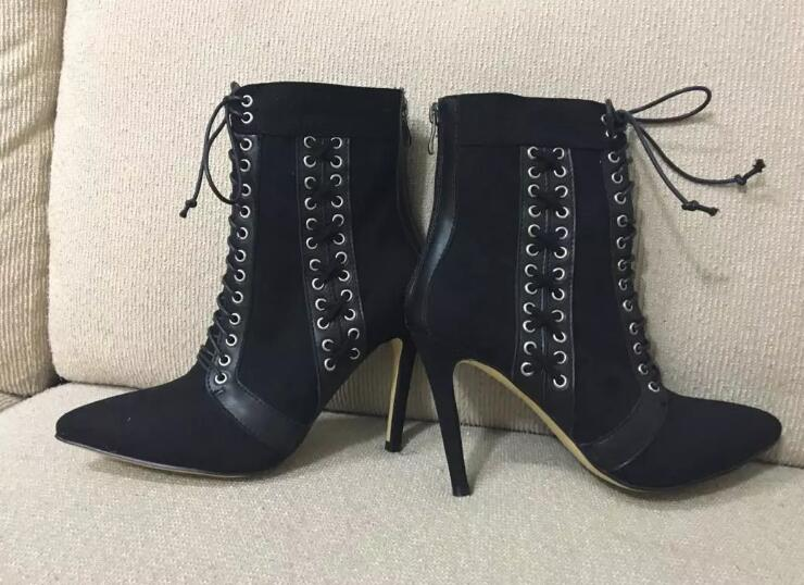 Studded ankle boots with pointed toe lace-up design rivet decoration high thin heels women's Spring Autumn black boots shoes 2015 autumn korean style pointed shoes with thin heels original glass double peach heart design shoes leather shoes