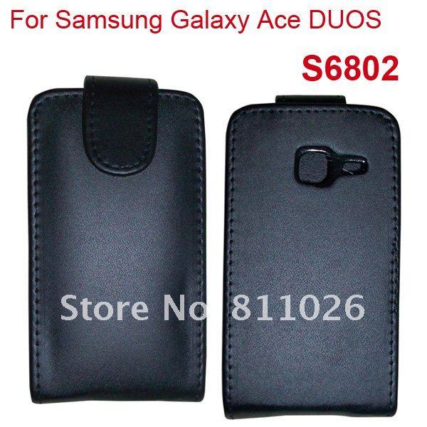 флип кожаный чехол для samsung Galaxy туз дуэтов s6802 чехол крышка, 1 шт./лот + бесплатная доставка