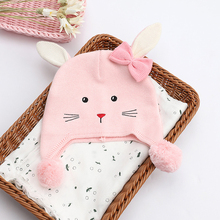 Beanie Kid Girl Winter Hat Autumn Knit Warm Pink Rabbit Cap Casual Outdoor Skiing Baby Accessory