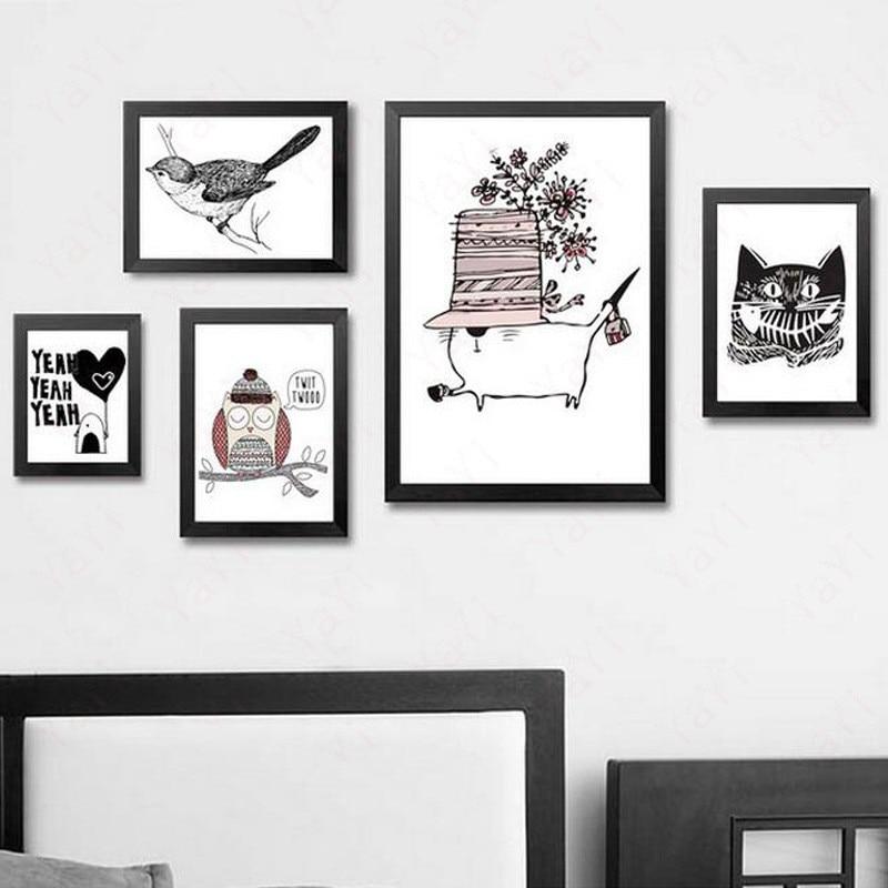 HAOCHU House Bedroom Decor Painting Lovely Animal Owl