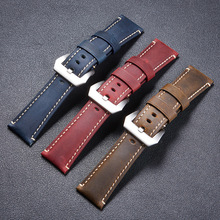 LPWHH Horse Skin Genuine Leather Strap For Watches Black Silver Pin Buckle Soft Comfortable Breathable 22mm 24mm 26mm Watch Band