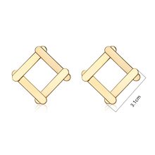 Viennois Classic Gold Color Square Metallic Stud Earrings for Woman