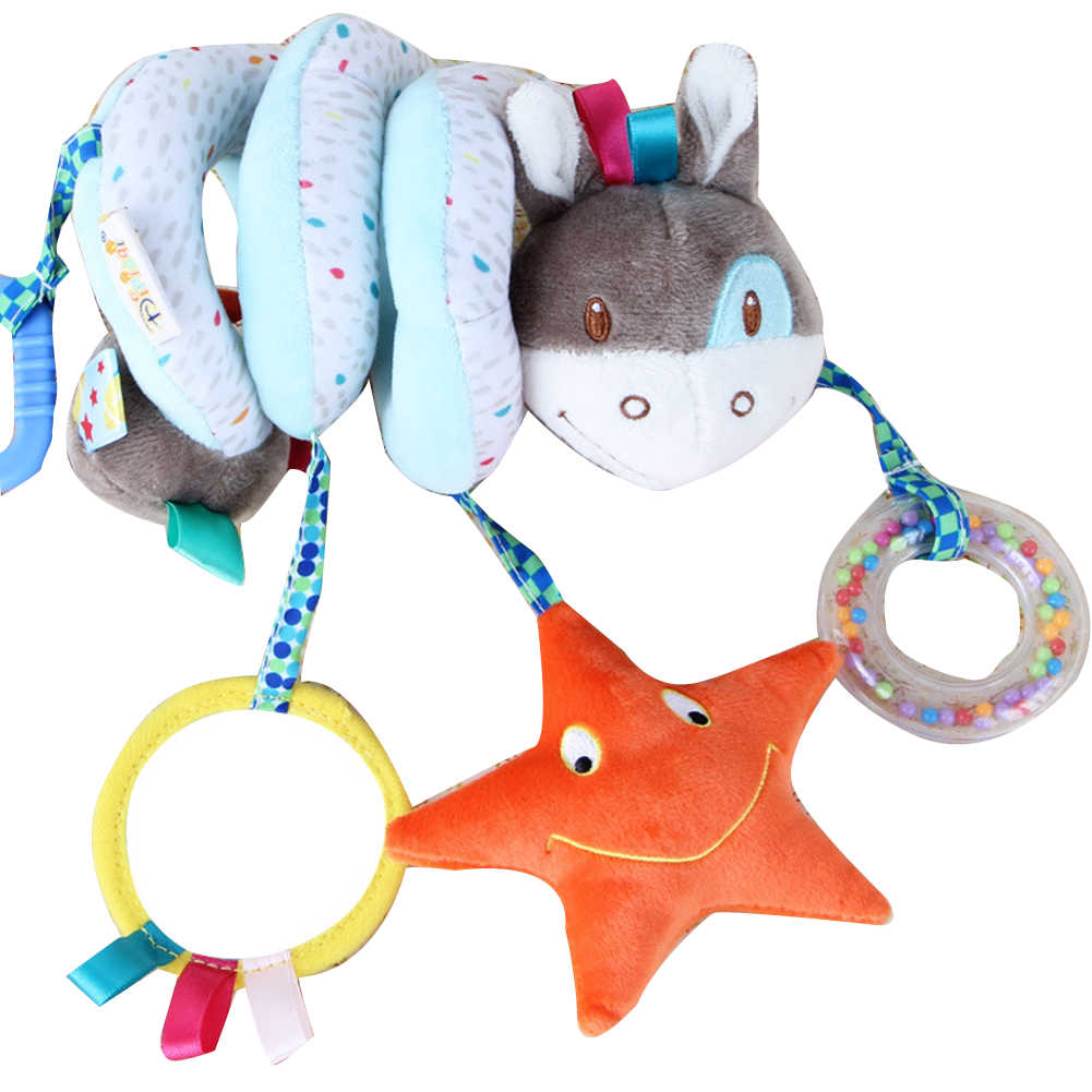 ทารกแรกเกิดข้างเตียง Spiral Plush Toy Multifunctional แขวน Bell เพลงสัตว์รูปร่างของเล่น Rattle พัฒนา Intelligence