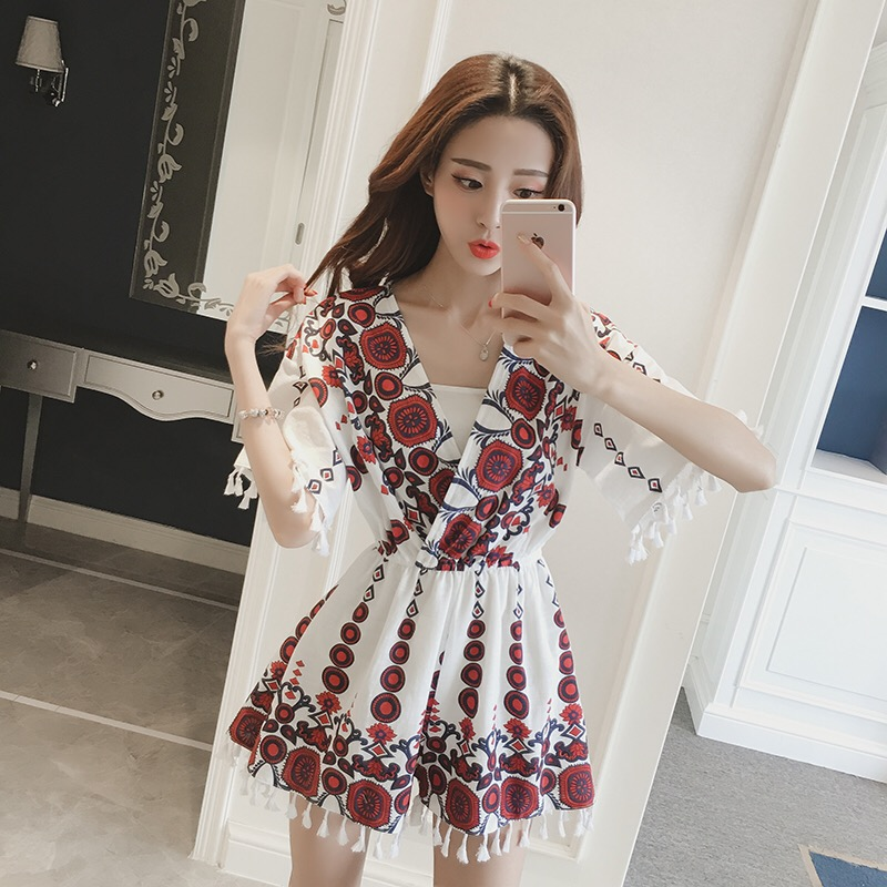 MingJieBiHuo Fashion women Jumpsuit new arrival OL lady summer Bohemian Casual V-neck Print tassel loose Chiffon Short Playsuits