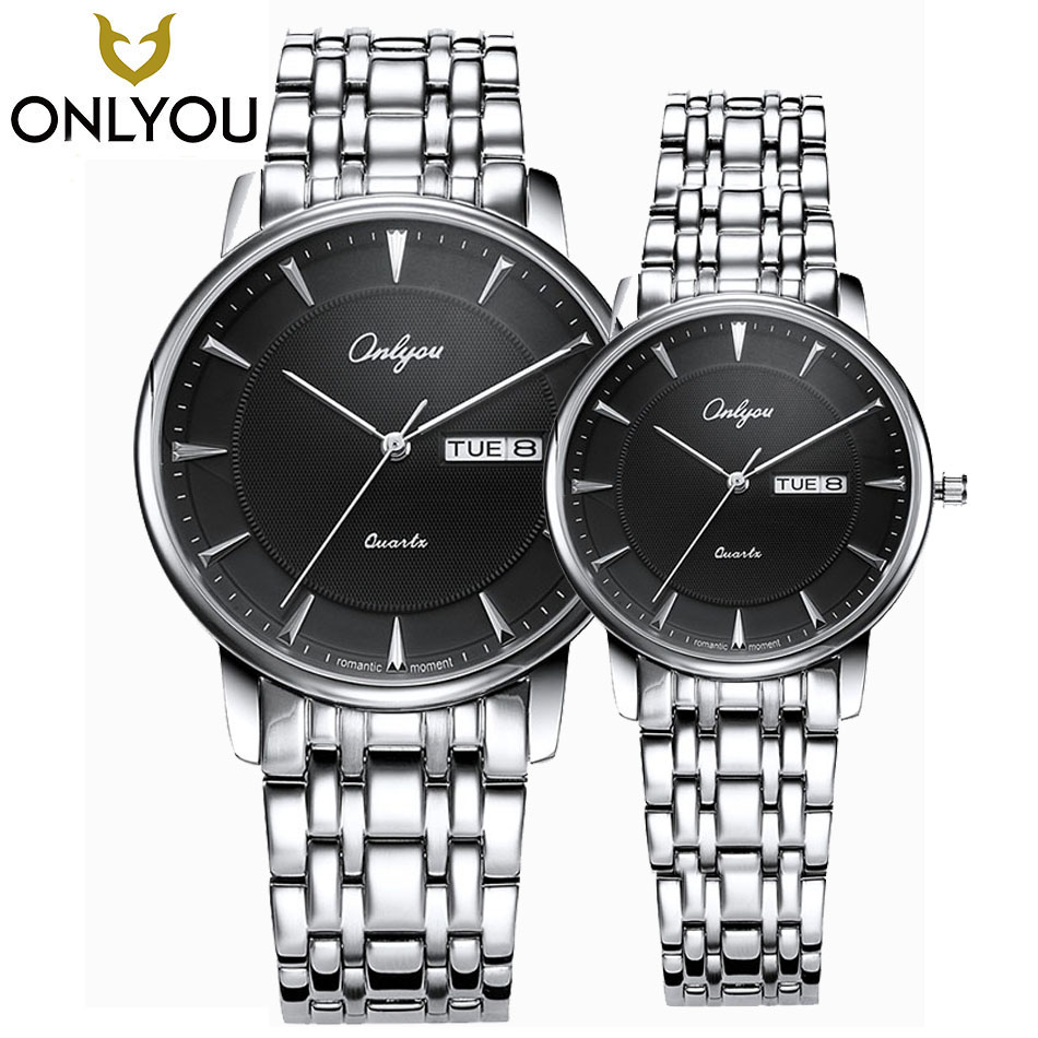 ONLYOU Lovers Watches Men Hot Sale Top Brand Luxury Waterproof Watch Women Business Calendar Date Stainless Steel Wristwatch