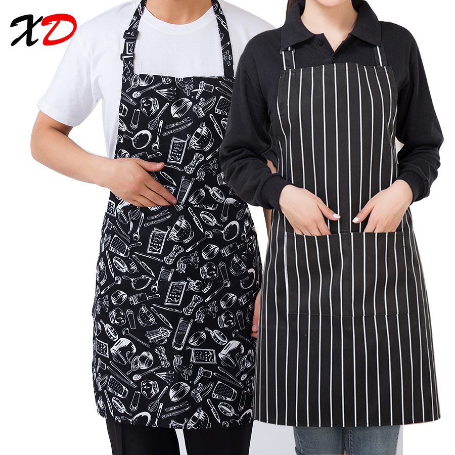 2017 New Black Cooking Baking Aprons Adjustable Sleeveless Apron Stripe Bib With Pockets Halter Bib Delantal Kitchen Restaurant