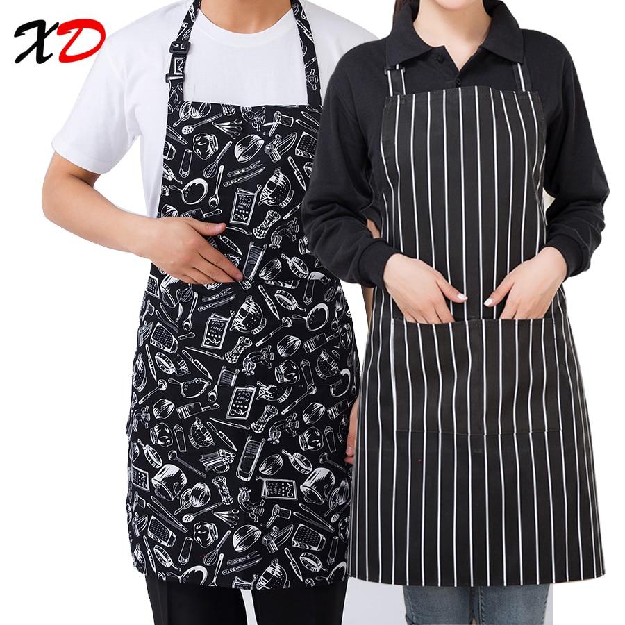 2019 New Black Cooking Baking Aprons adjustable Sleeveless Apron Stripe Bib with pockets Halter Bib Delantal Kitchen Restaurant