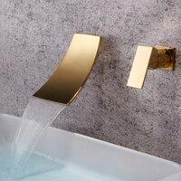 Кухня водопад Смесители для ванны матовый золотой аксессуары ванной комнаты ванна кран латунный настенный один держатель с одиночным отве