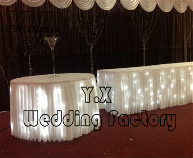3b8227922cb13 White Color Ice Silk Table Skirt With Led Light For Wedding Event Table  Cloth Decoration