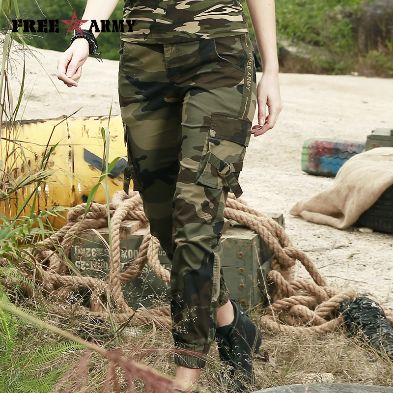 FreeArmy Brand Pants Women 2018 Fashion Military Camouflage Pants Cotton Ankle Length Casual Female Trousers Jogger