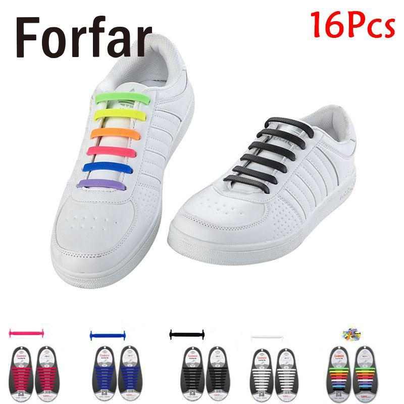 16Pcs Adult Kids Easy Lazy No Tie Shoelaces Silicone Elastic Shoe Fit Sneakers Outdoor Camping  Hiking Travel tools