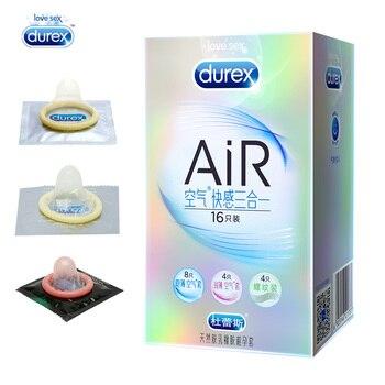 Condones de autenticidad Durex, 16 Uds., Látex Natural, espiral, Ultra delgado, lubricado, 3 tipos en 1, caja de condones para hombres