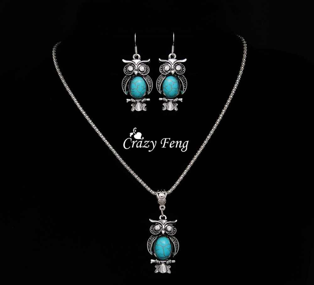Nuevo diseño de conjuntos de joyería de plata tibetana pedrería retro colgante collar búho conjunto de pendientes de gota joyería para las mujeres envío gratis